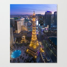 Aerial view of the Eiffel tower in Las Vegas Canvas Print