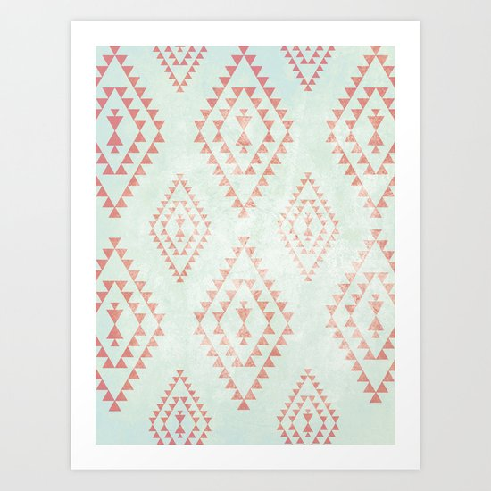 mint & coral tribal pattern Art Print