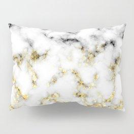 Black and white marble gold sparkle flakes Pillow Sham
