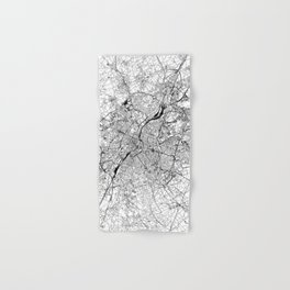Brussels White Map Hand & Bath Towel