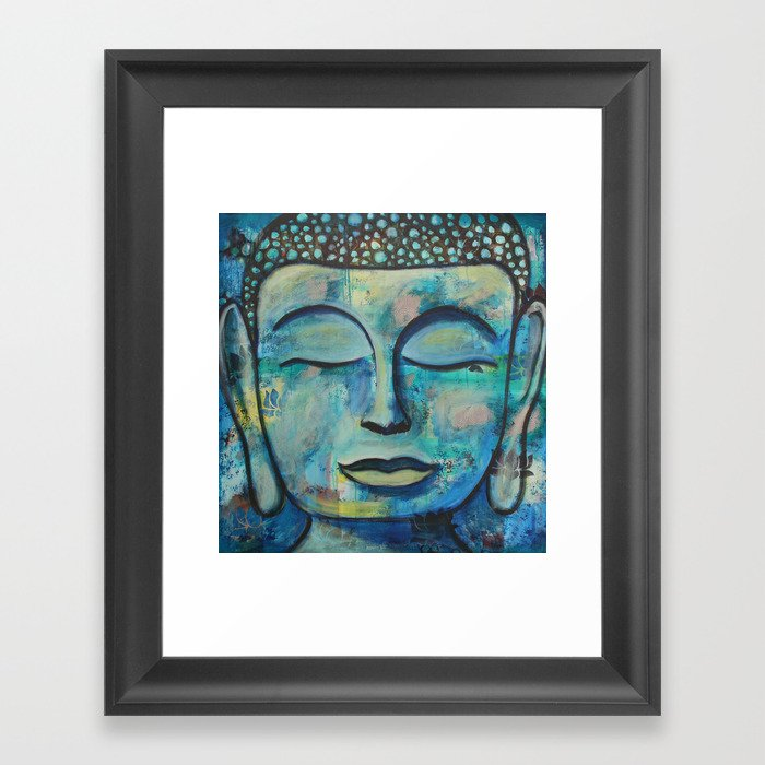 Blue Zen Buddha Framed Art Print