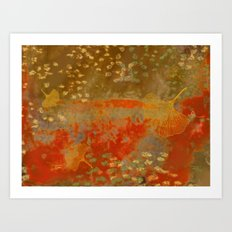 Ginkgo Leaves on Rust Background Art Print