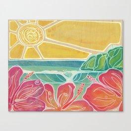 Triple Hibiscus Surf Art by Lauren Tannehill Art Canvas Print