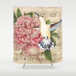 Hummingbird Peony Song Shower Curtain