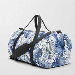 Tropical plants in indigo blue Duffle Bag