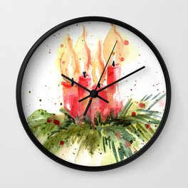 Christmas Candles Wall Clock