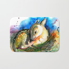 Baby Deer Sleeping - After My Original Watercolor On Heavy Paper Bath Mat