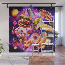 Junk Food Sparkly in Ggalaxy Space Cosmos for Hungry Traveler Burger Taco Sweets Pizza Wall Mural