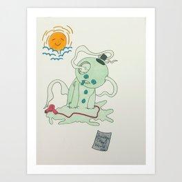 melting snowman Art Print
