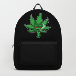 Cannabis Leaf With Red Eyes Smokes Weed - THC CBD Backpack