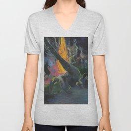 Upa Upa (The Fire Dance) by Paul Gauguin Unisex V-Neck