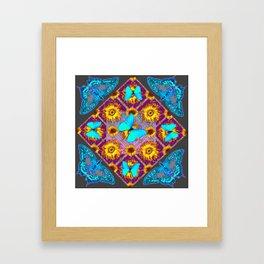 WESTERN STYLE TURQUOISE BUTTERFLIES FLORAL ART Framed Art Print