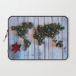 Joy to the World Holiday Map Art Laptop Sleeve