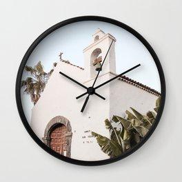 White Tropical Church Art Print | Canary Islands Tenerife Spain Photo | Travel Photography Wall Clock