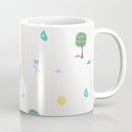 Summer Seamless Pattern with trees, sun, drops of rain, flowers, berries Coffee Mug