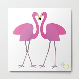 Flamingos in love Metal Print