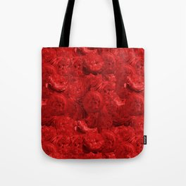 Bed of fire red roses - Rose floral Flowers Tote Bag