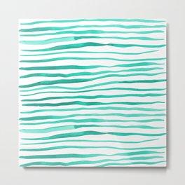Irregular watercolor lines - turquoise Metal Print
