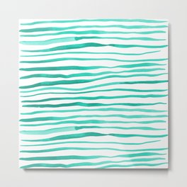 Irregular watercolor lines - turquoise Metal Print