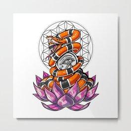 Lotus Eye Of Horus Sacred Geometry Snake Metal Print