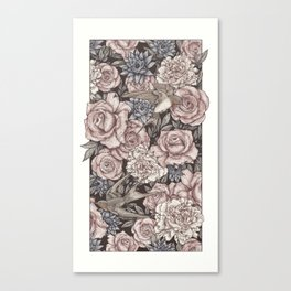 Flowers & Swallows Canvas Print