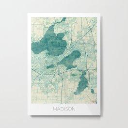Madison Map Blue Vintage Metal Print