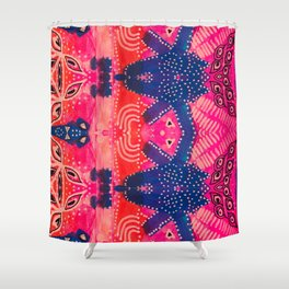 Coral Pink Boho Shower Curtain