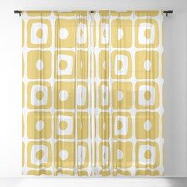 Mid Century Square Dot Pattern Mustard Yellow Sheer Curtain