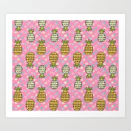 Playful Pineapples Art Print