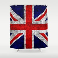 union jack Shower Curtains featuring Union Jack Grunge Flag by Alice Gosling