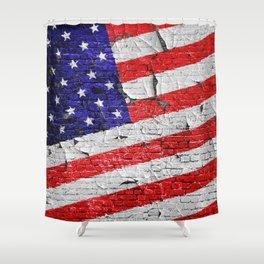 Vintage Patriotic American Flag Shower Curtain