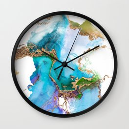 Abstract Marble Mermaid Gemstone With Gold Glitter Wall Clock