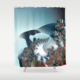 On the Edge of a Fantasy Landscape -- fractal art by Twigisle at Society6 Shower Curtain