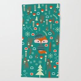 Cute fox waiting for Christmas Beach Towel