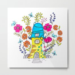 Whimsical House Garden Metal Print
