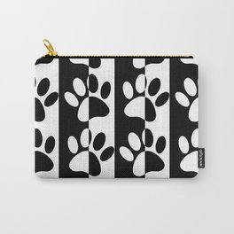 Black And White Dog Paws And Stripes Carry-All Pouch