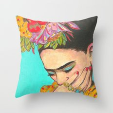 FRIDA KAHLO THINKS  Throw Pillow