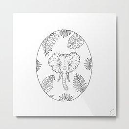 Elephant Botanical Tropical Plant Illustration Metal Print