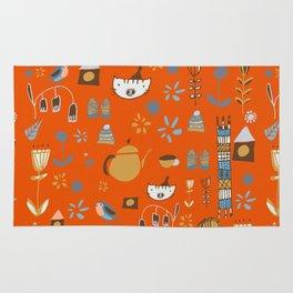 hygge cat and bird orange Rug