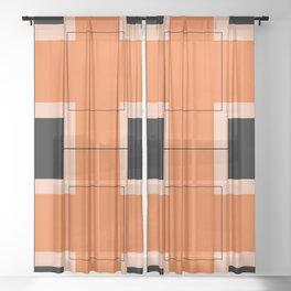 White Hairline Squares in Orange Sheer Curtain