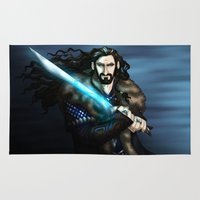 thorin Area & Throw Rugs featuring Thorin in Blue by wolfanita