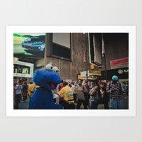 Cookie Monster in Times Square Art Print