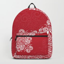 Red background with white love mandala Backpack