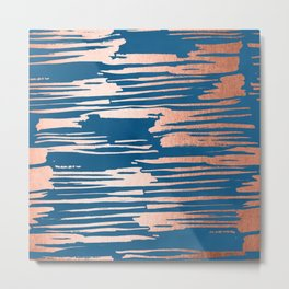 Tiger Paint Stripes - Sweet Peach Shimmer on Saltwater Taffy Teal Metal Print