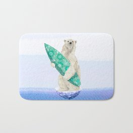 Polar bear & Surf (green) Bath Mat