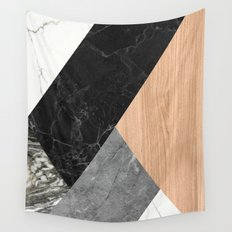 Marble and Wood Abstract Wall Tapestry