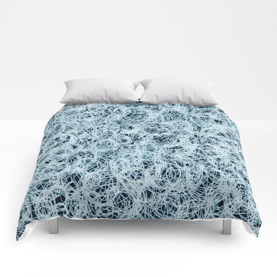 Powder Blue Ink on Black  Comforters