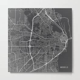 Mobile Map, USA - Gray Metal Print