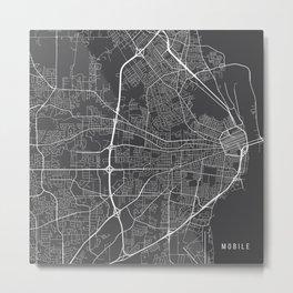 Mobile Map, USA - Gray Metal Print
