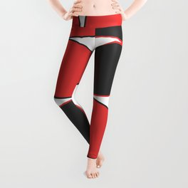 Mid-Century Modern Art - Flower Pattern Black Red Leggings